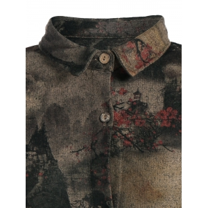 Landscape Ink Painting Long Button Up Coat - COLORMIX XL