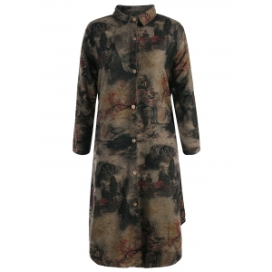 Landscape Ink Painting Long Button Up Coat - Colormix - Xl