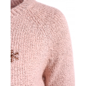 Christmas Reindeer Snowflake Embroidered Sweater - PINK ONE SIZE