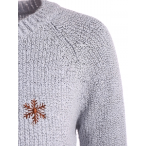 Christmas Reindeer Snowflake Embroidered Sweater - GRAY ONE SIZE