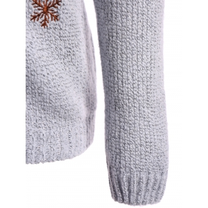 Christmas Reindeer Snowflake Embroidered Sweater -