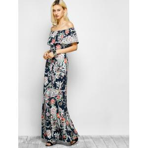 Flounced Floral Off The Shoulder Maxi Dress -