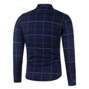 Long Sleeve Flocking Plaid Shirt -