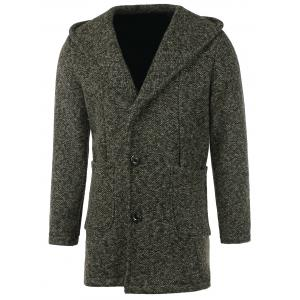 Heathered Patch Pocket Hooded Coat