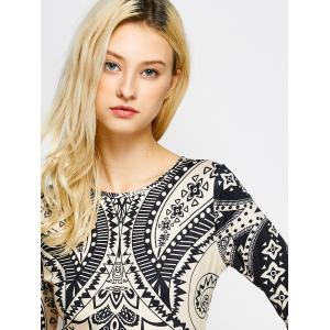 Tribal Totem Printed  Cut Out Dress -