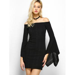 Off The Shoulder Long Sleeve Party  Dress - BLACK XL