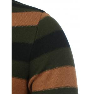Striped High Neck Zip Front Sweater -