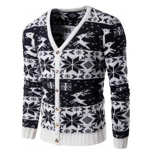 V Neck Snowflake Deer Christmas Cardigan