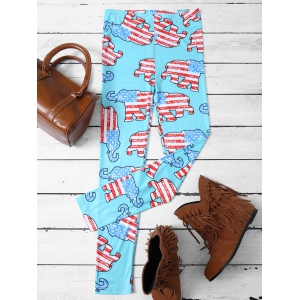 Skinny Elephant Patterned Leggings - Lake Blue - M