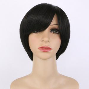 Handsome Synthetic Black Short Oblique Bang Wig For Women -