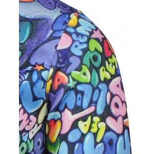 Face Print Stand Collar Snap Front Jacket -