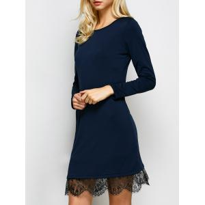 Long Sleeves Lace Trim Shift Dress