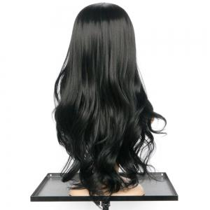 Elegant Synthetic Black Long Middle Part Wavy Wig For Women - BLACK