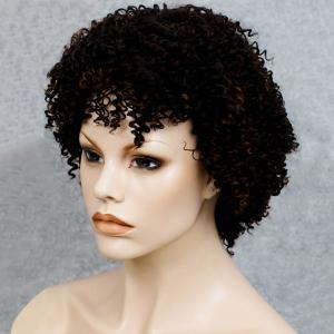 Stylish Black Mixed Synthetic Shaggy Afro Curly Capless Wig For Women - COLORMIX