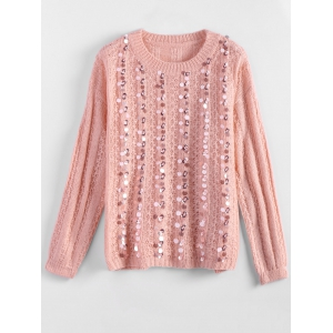 Crewneck Sequins Sweater - Pink - One Size