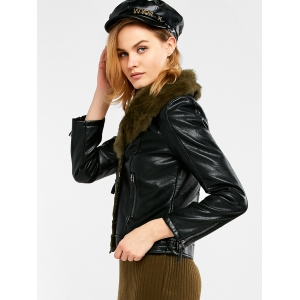 Faux Shearling Biker Jacket -