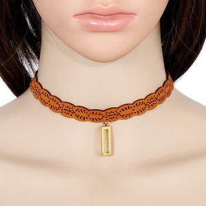 Artificial Leather Geometric Choker Necklace