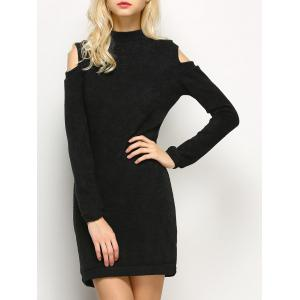 Long Sleeve Cold Shoulder High Neck Bodycon Dress - Black - S