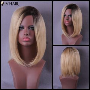 Medium Side Parting Color Mixed Straight Bob Siv Human Hair Wig - Colormix