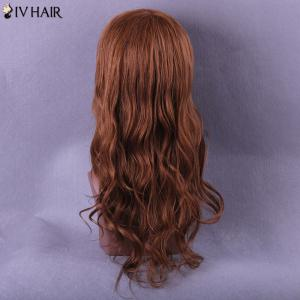 Long Oblique Bang Wavy Siv Human Hair Wig -
