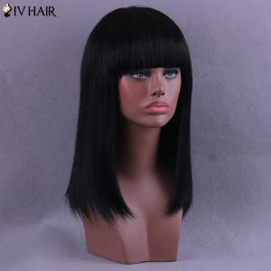 Long Full Bang Straight Siv Human Hair Wig -