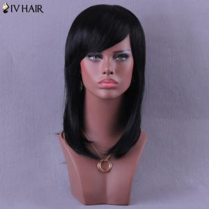 Medium Inclined Bang Natural Straight Siv Human Hair Wig -