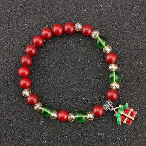 Bows Christmas Gift Charm Beaded Bracelet