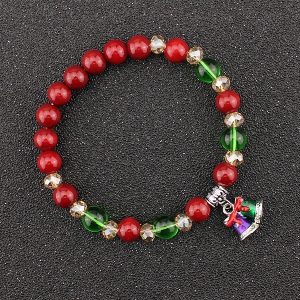 Christmas Bells Charm Beaded Bracelet