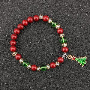 Christmas Tree Star Charm Beaded Bracelet
