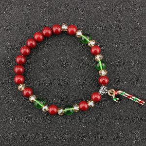 Christmas Candy Cane Charm Beaded Bracelet