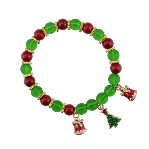 Christmas Bells Tree Charm Beaded Bracelet