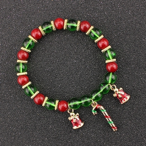 Christmas Bells Candy Cane Charm Beaded Bracelet