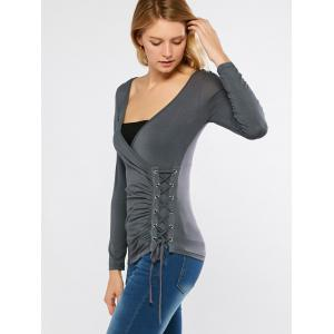 Low Cut Lace Up Draped Tee -