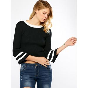 Flare Sleeve Crop Knit Sweater -