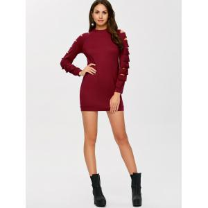 Long Sleeve Ripped Bodycon Day Dress -