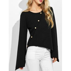 Bell Sleeves High Low Knitwear - Black - S