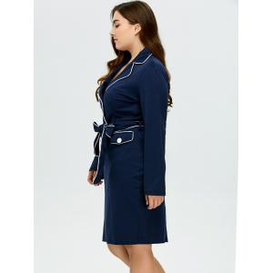 Lapel Plus Size Belted Bodycon Dress -