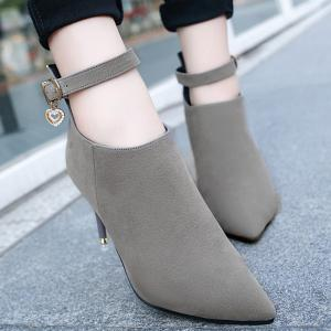 Buckle Strap Rhinestones PU Leather Ankle Boots -