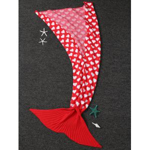 Home Decor Heart Pattern Knit Mermaid Blanket Throw For Kids - RED