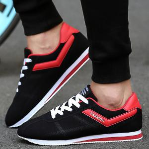 Letter Print Colorblocked Suede Sneakers -