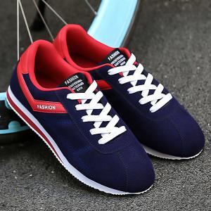 Letter Print Colorblocked Suede Sneakers - Blue And Red - 40