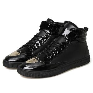 Patent Leather Panel Rivet High Top Shoes -