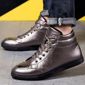 PU Leather High Top Flocking Casual Shoes -
