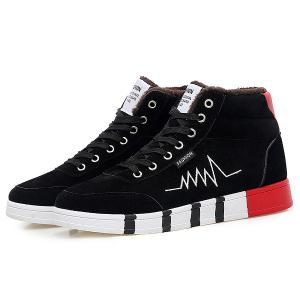 High Top Suede Flocking Skate Shoes -