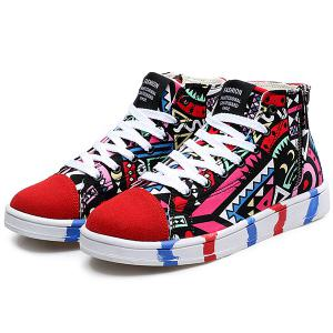 High Top Printed Canvas Shoes -