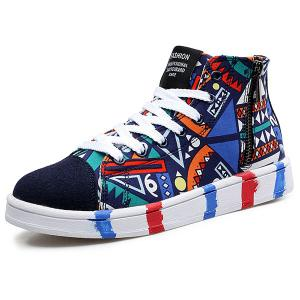 High Top Printed Canvas Shoes - Blue - 42