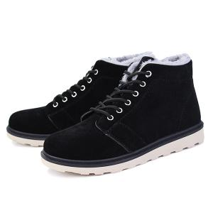 Flocking Suede Lace Up Ankle Boots -