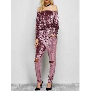Ripped Off The Shoulder Velvet Long Sleeve Jumpsuit