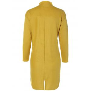 Plus Size Mock Neck Slit Sweater Dress - YELLOW 5XL