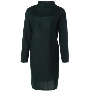 Plus Size Mock Neck Long Sleeve Jersey Dress - Green - L